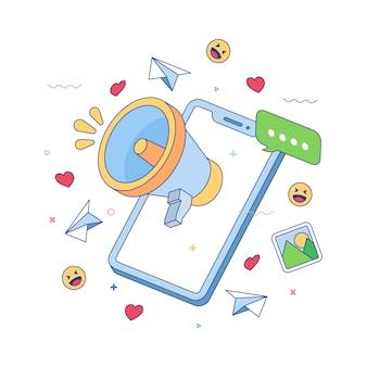 확성기와 소셜 미디어 개념