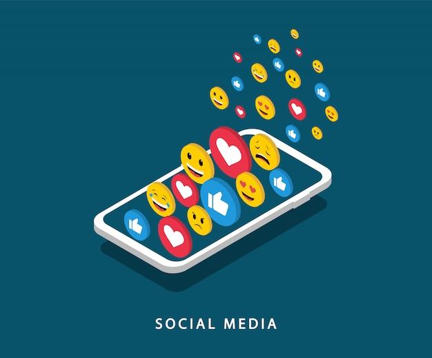 スマートフォンでのソーシャルメディアの概念。ソーシャルネットワーキング。ソーシャルマーケティング。