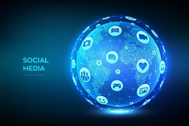 소셜 미디어 연결 개념. 다른 소셜 미디어와 컴퓨터 아이콘을 가진 지구 행성 지구.