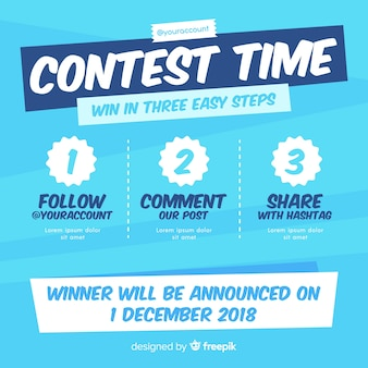 Social media contest background with steps