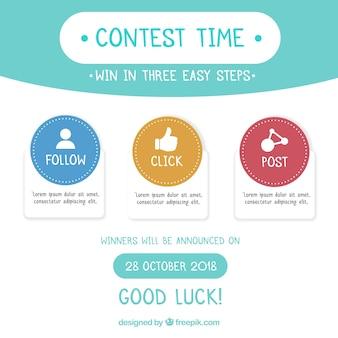 소셜 미디어 경연 대회 또는 공짜 개념 배경