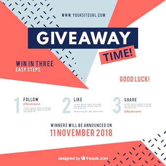 Social media contest steps with flat design