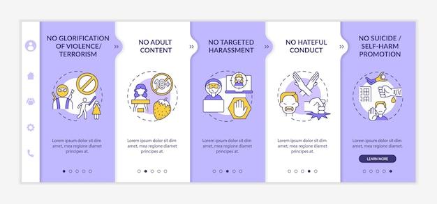 소셜 미디어 대화 안전 온보딩 벡터 템플릿입니다. 아이콘이 있는 반응형 모바일 웹사이트입니다. 웹 페이지 연습 5단계 화면. 선형 삽화가 포함된 증오 행위 색상 개념 없음