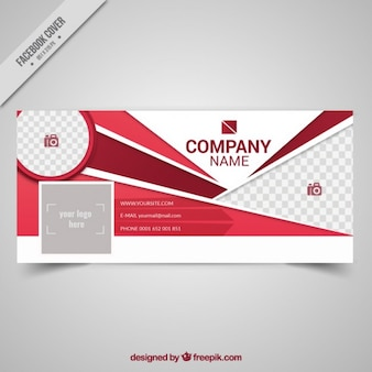 Social media cover with red abstract shapes