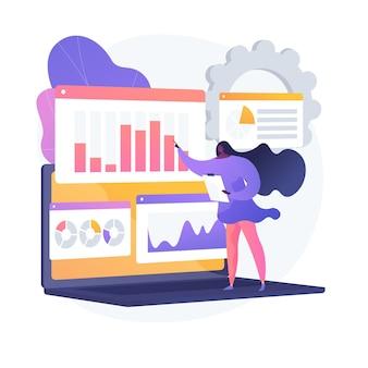 ソーシャルメディアデータセンター。 smm統計、デジタルマーケティング調査、市場動向分析。オンライン調査結果を研究している女性の専門家。ベクトル分離概念比喩イラスト