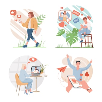 Social media or dating application design concept. happy men and women using internet to communicate with each other flat illustration. people putting likes, chatting, speaking on internet.