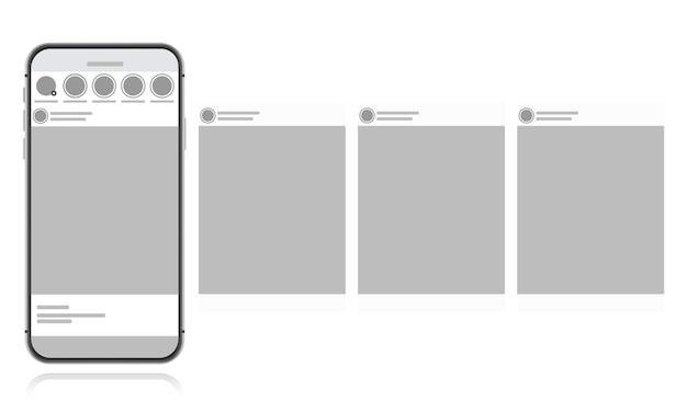 흰색 배경에 소셜 미디어 디자인 개념입니다. 소셜 네트워크에 회전 목마 인터페이스 게시물 스마트 폰. 현대 평면 스타일 일러스트 프리미엄 벡터