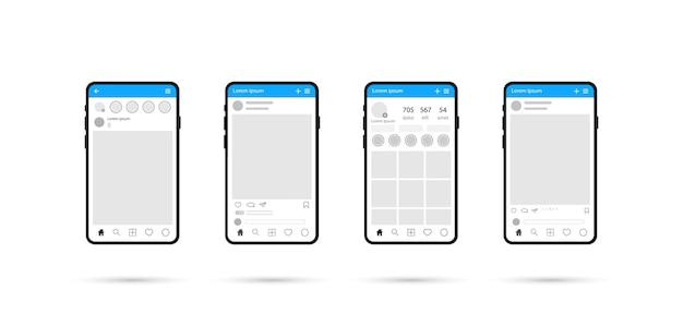 소셜 미디어 디자인 개념. 전화.