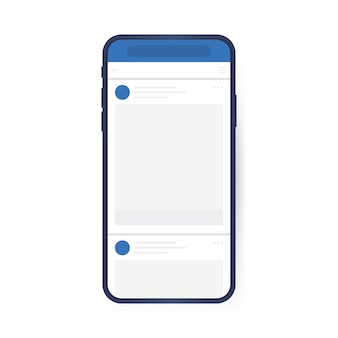 Social media design concept. smartphone with interface carousel post on social network. modern flat style