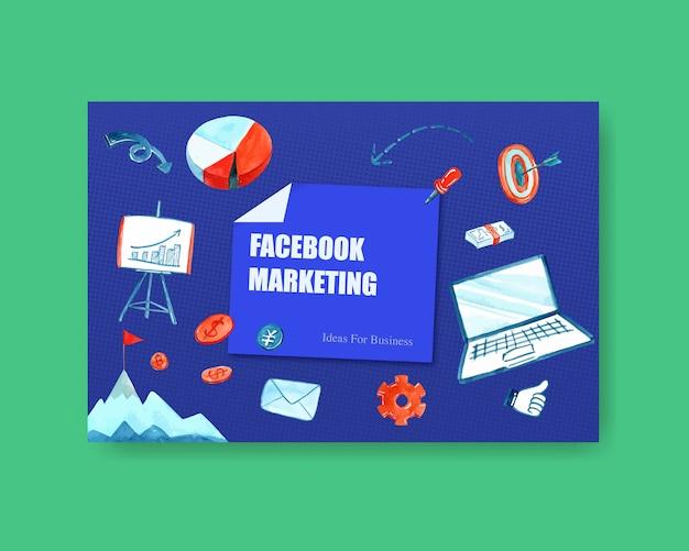 お金、ラップトップのイラストのビジネス水彩画とソーシャルメディアデザイン。