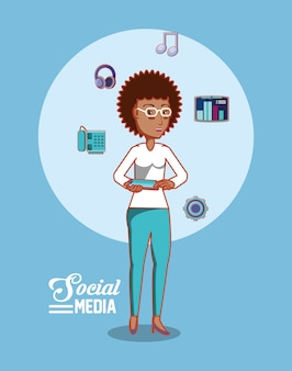 Social media design with cartoon woman and  related icons
