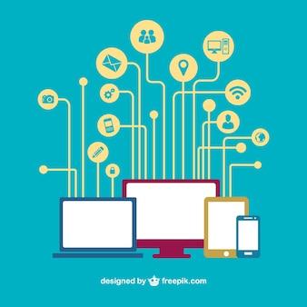 Социальные медиа устройства сети вектор