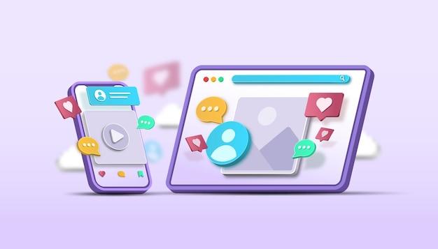 소셜 미디어 디지털 마케팅 개념 3d 그림