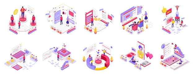 Social media and digital marketing isometric