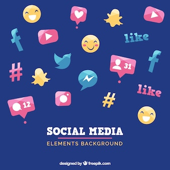 Sfondo di elementi di media sociali in stile piano Vettore gratuito