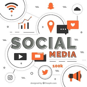 Social media elements background in flat style