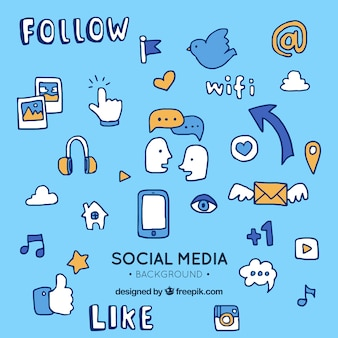 Social media elements background in hand drawn style
