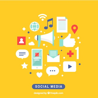 Social media elements background
