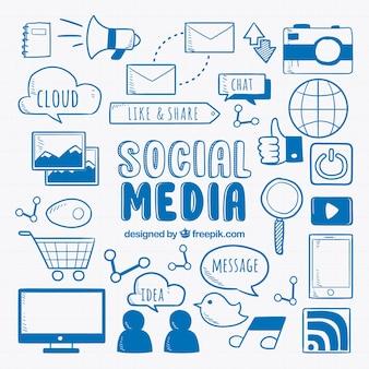 Social media elements background