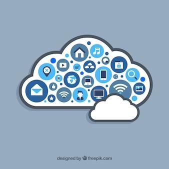 Elementi di social media a forma di nuvola in stile piano