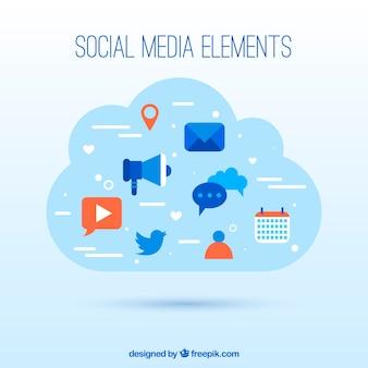 Social media elements in a cloud shape in flat style