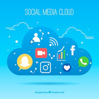 Social media elements in a cloud shape in flat style