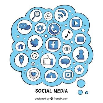 아이콘으로 구름 모양의 소셜 미디어 요소