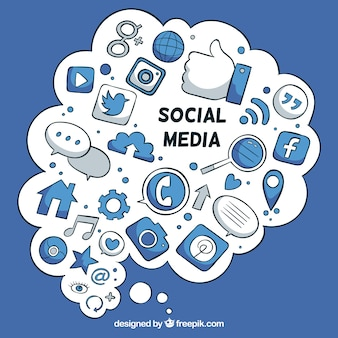 Social media elements in a cloud shape with icons