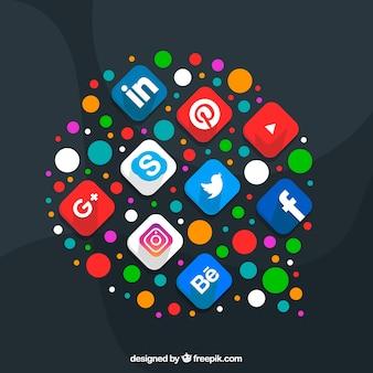 Social media elements in a cloud shape