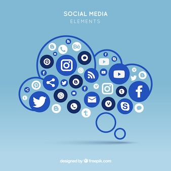 Social media elements in a cloud shape