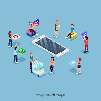 Social media elements in isometric style