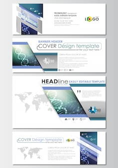 Social media and email headers set, banner templates, cover design template. dna molecule