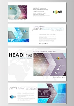 Social media and email headers set, banners.