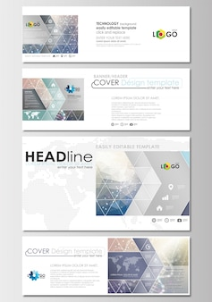 Social media and email headers set, modern banner templates.