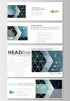 Social media and email headers set, modern banner templates