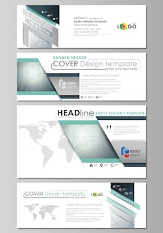 Social media and email headers set, modern banners. abstract geometric templates, layouts in popular sizes. genetic and chemical compounds. dna and neurons. medicine, chemistry .
