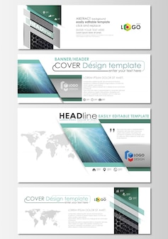 Social media and email headers set, modern banners. business templates. cover design template, flat layouts. chemistry pattern, hexagonal molecule structure. medicine, science, technology concept.