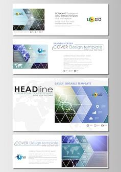 Social media and email headers set, modern banners. business templates.