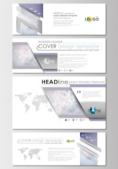 Social media and email headers set, modern banners. cover design template. molecule struct