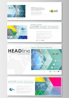 Social media and email headers set, modern banners. cover design template with mesh gradie