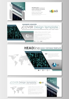Social media and email headers set, modern banners. cover design template