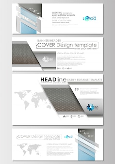 Social media and email headers set, modern banners