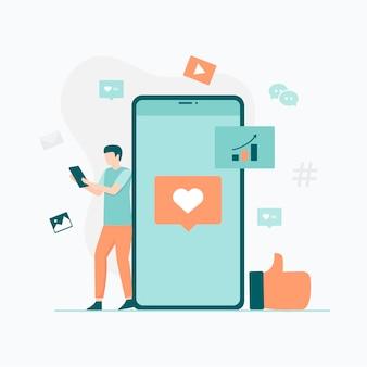 웹 사이트 모바일 애플리케이션을위한 소셜 미디어 참여 일러스트 컨셉 일러스트