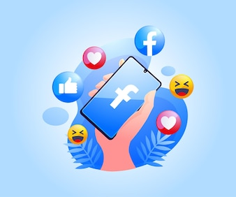 Social media facebook app on smartphone Premium Vector