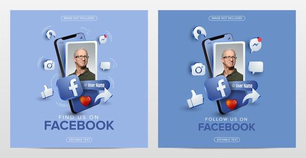 Social media facebook on mobile square template