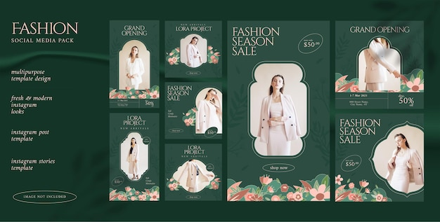 Social media feed post and stories template for fashion business