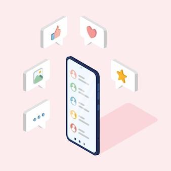 소셜 미디어 평면 3d 아이소메트릭 개념 벡터 아이콘 댓글 좋아하는 심장 줄임표 사진 아이콘