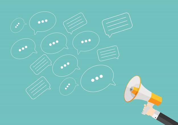 メガホンと音声バブルメッサソーシャルメディアフラットコンセプト