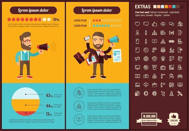 소셜 미디어 평면 디자인 infographic 템플릿 및 아이콘 설정