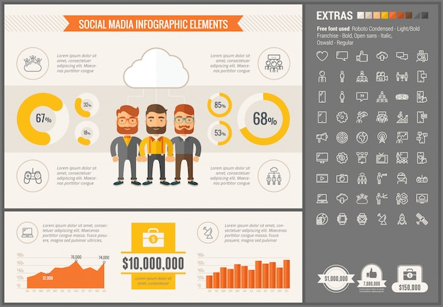 Social media flat design infographic template and icons set